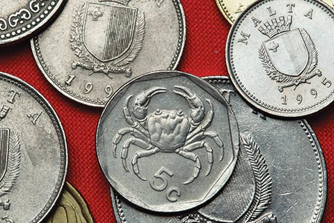 Maltese 5 Cent coin showing the outline of a crab