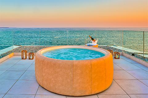 A luxury hot tub overlooking the Adriatic Sea in Croatia