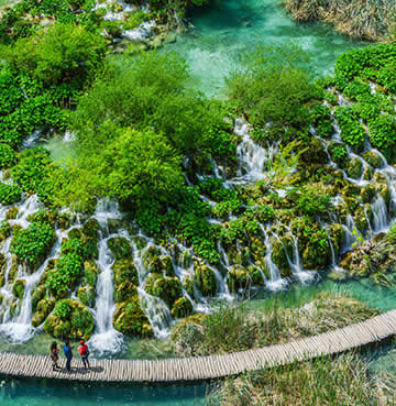 An aerial view of Plitvice Lakes