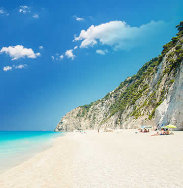 Towering limestone cliffs of Lefkas Island, Greece