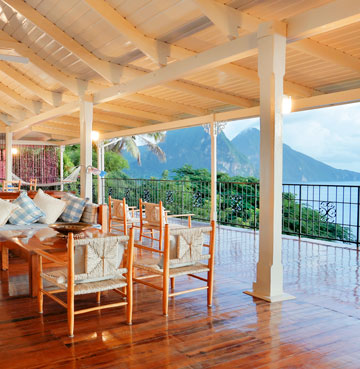 Villa Calypso, looking out over Soufrière and towards the Pitons in the distance