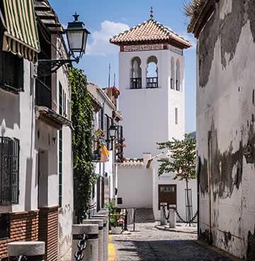 Quaint whitewashed buildings of Granada village