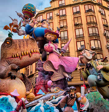 Ninots made of papier-mâché, cardboard, wood and plastic are paraded around at Las Fallas