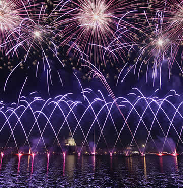 Fireworks celebrations over water at Festa del Redentore in Italy