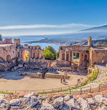 Ruins of ancient theatre in Taormina Sicily