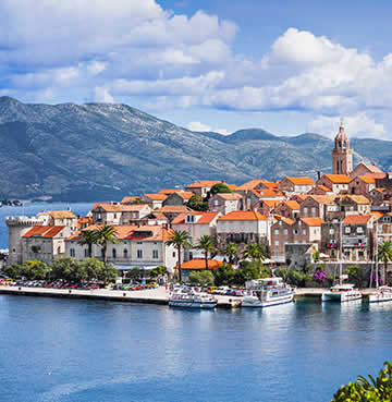 An aerial view of Korcula, jutting out into the peninsula
