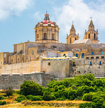 The walled city of Mdina, perched on top of a hill