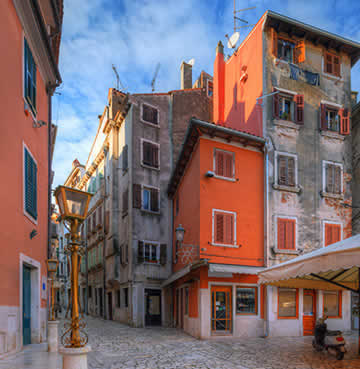Colourful cobbled streets of Rovinj's interior