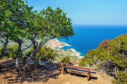 Bench overlooking The Akamas Peninsula
