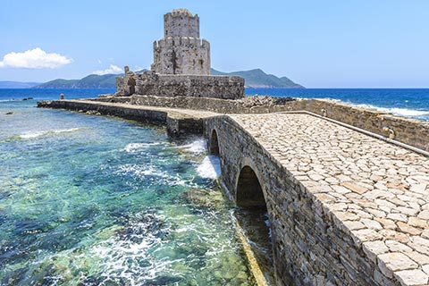 14 arched bridge that leads to Methoni Tower