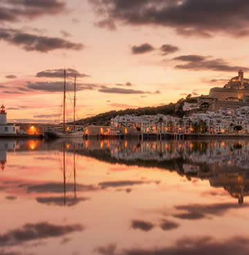 The UNESCO-listed Dalt Vila Old Town of Ibiza at sunset