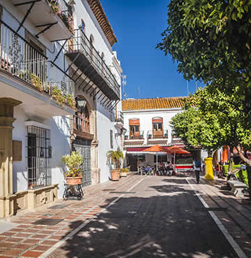 Quintessential architecture and whitewashed buildings in Marbella's Old Town