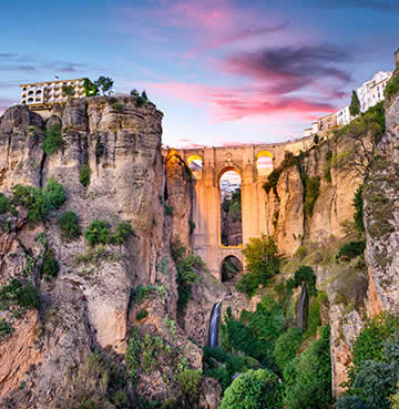 The famous bridge that stretches over a rugged ravine in Ronda