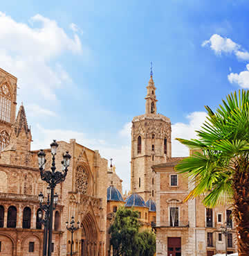 Sandstone structures and towers in the historic Old Town in Valencia