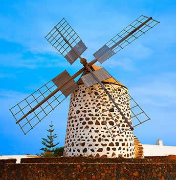 A traditional windmill in Fuerteventura