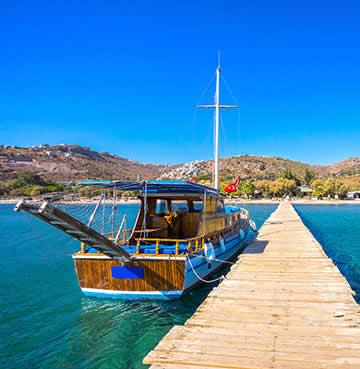 Boat overlooking Camel Bay in Bodrum