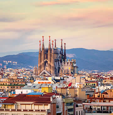 The iconic Sagrada Familia, Barcelona, towers above the rest of the city