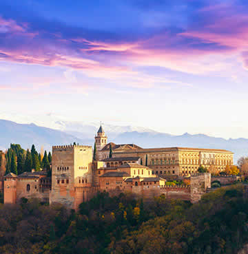 The iconic Alhambra Palace in Granada at sunset