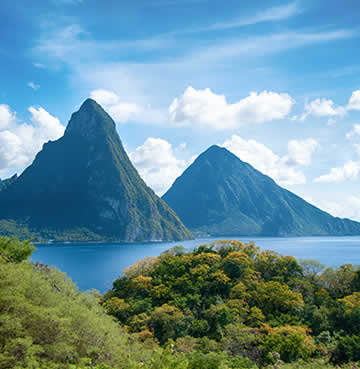 The iconic volcanic plugs in Soufriere, St Lucia