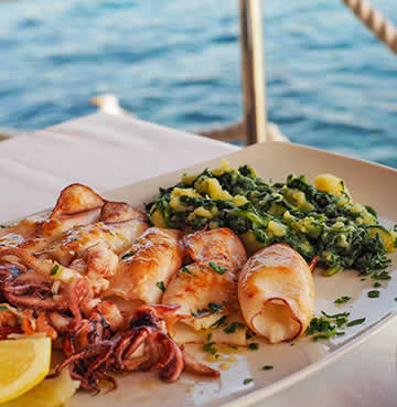 A plate of seafood at a restaurant on the Croatian coast