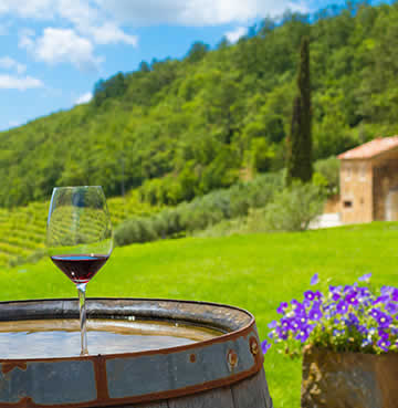 A beautiful glass of red wine perched atop a barrel overlooking the verdant green Vineyards of Istria, Croatia