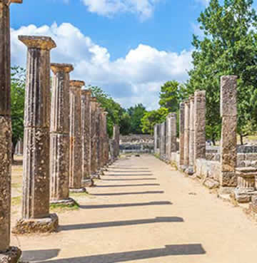 The ancient ruins of Olympia in Mainland Greece
