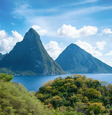The twin peaks of the Piton Mountains in St. Lucia