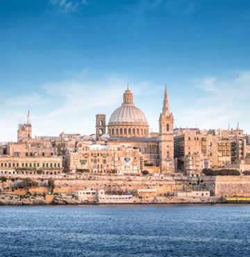 The beautiful Valletta skyline in Malta, viewed from across the sea