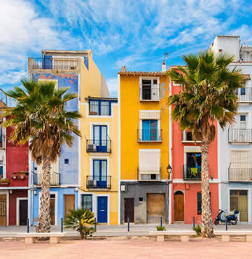 Colourful houses and buildings in a small Spanish town in Costa Blanca