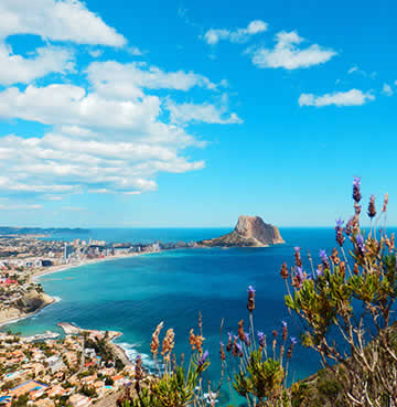 Panoramic view over the skyline of Costa Blanca and Peñon de Ifach