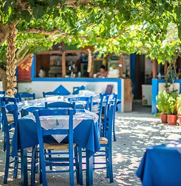 Traditional blue and white decorated taverna.