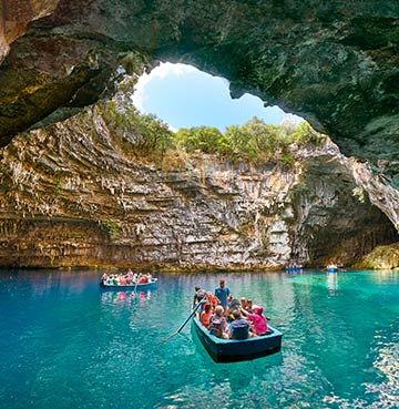 Bright blue waters of Melissani Lake Cave, Kefalonia