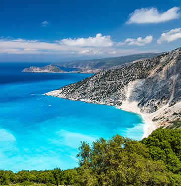 Azure waters and towering, limestone cliffs at Myrtos Beach