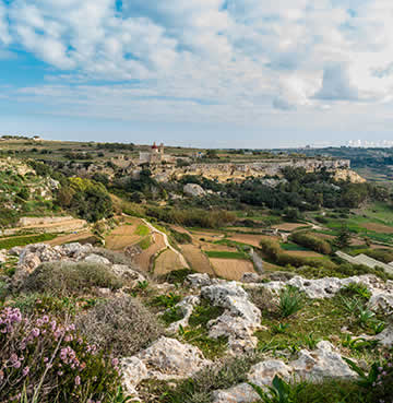 Craggy limestone and rolling hills of the Maltese countryside