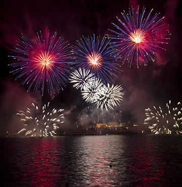 Fireworks display at Valletta harbour, Malta