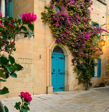 A picturesque square adorned in bright pink bougainvillea in Mdina, Malta