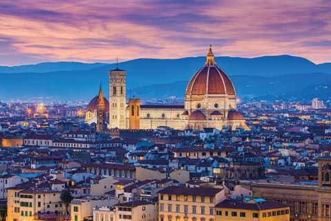 The skyline of Florence, Italy, at sunset