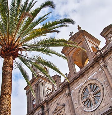 Upward view of cathedral in Las Palmas, Gran Canaria