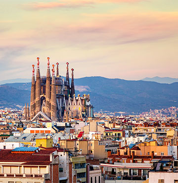 Barcelona skyline with a view of the Sagrada Familia