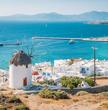 Iconic windmills on Mykonos
