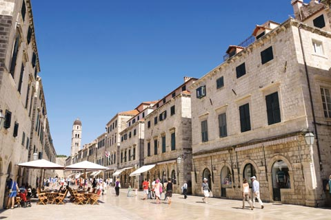The Stradun in Dubrovnik's Old Town, with eateries and restaurants on either side of the pedestrianised street