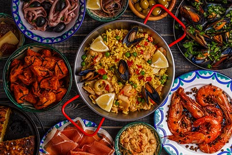 Platter of local tapas including seafood and meat
