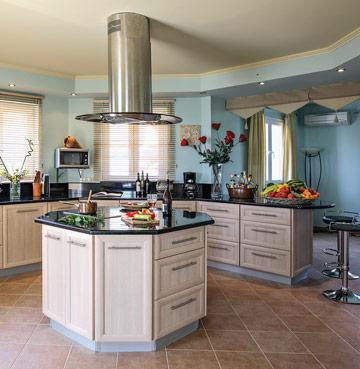 Stunning modern kitchen in Villa Octavius in Lefkas, Greek Islands