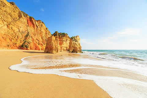 Golden sands and soaring cliffs in the Algarve