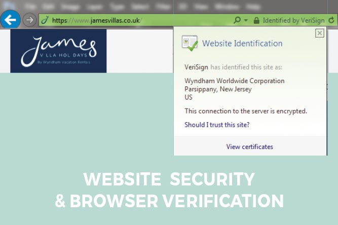 Print screen of website security and browser verification