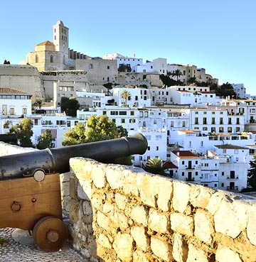 View of a village of white houses in Ibiza