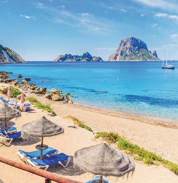 View of Es Vedra rock from Cala d'Hort beach, Ibiza