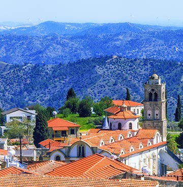 Red rooftops of a rural village in the Troodos Mountain Range, Cyprus