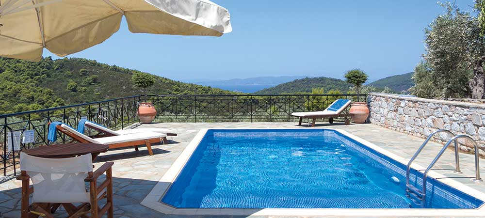 View out to sea over the pool in Villa Nektaria, Skopelos