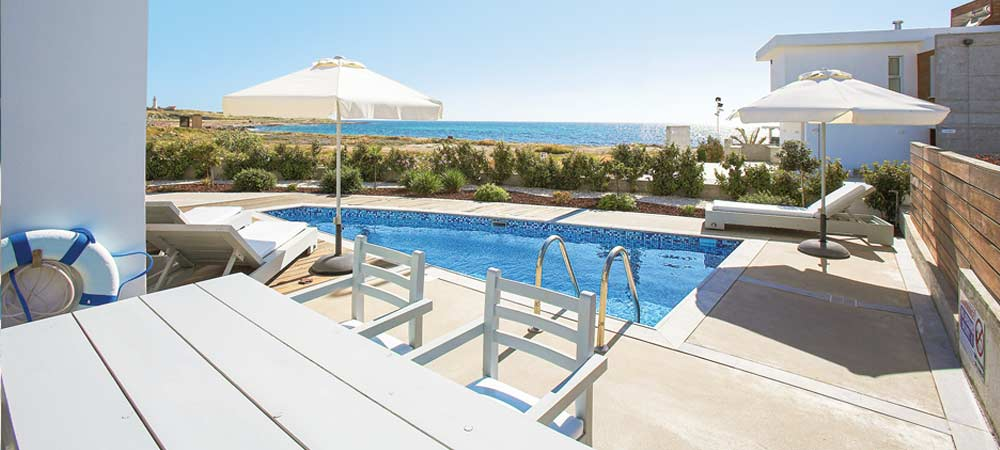 View over the pool in Villa Sky, Paphos
